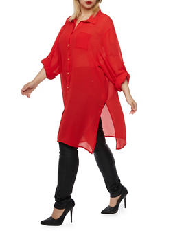 Plus Size Tunic Top with Side Slits - 3803058938020
