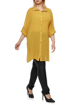 Plus Size Tunic Top with Side Slits - MUSTARD - 3803058938020