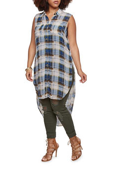 Plus Size Sleeveless Tunic Top in Plaid - 3803058938093
