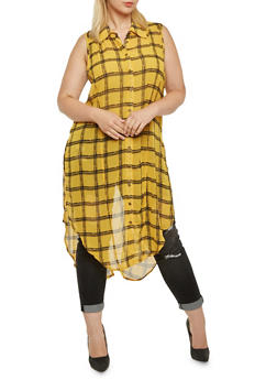 Plus Size Plaid Maxi Top with Slits - 3803061630068