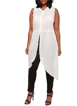 Plus Size Sheer Maxi Top with Tulip Hem - 3803061630071