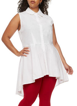 Plus Size High Low Tunic Shirt - 3803061630264