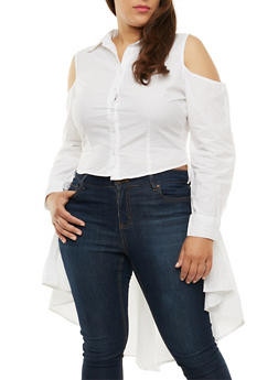 Plus Size Button Front Cold Shoulder High Low Top - 3803061630266