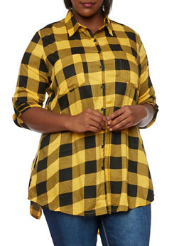 Plus Size Check Tunic Top with High Back Slit - 3803061634485