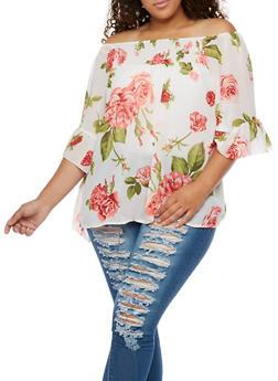 Plus Size Floral Smocked Off the Shoulder Top - 3803061634574