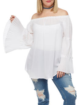 Plus Size Off the Shoulder Top with Tiered Bell Sleeves - WHITE - 3803061635028
