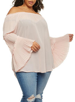 Plus Size Off the Shoulder Top with Tiered Bell Sleeves - 3803061635028