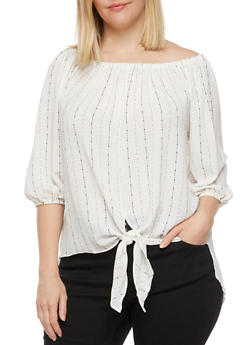 Plus Size Off the Shoulder Striped Tie Front Top - 3803061635029