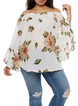 Plus Size Floral Off the Shoulder Top - 3803061638007