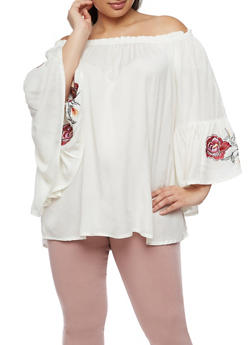 Plus Size Off the Shoulder Top with Embroidered Sleeves - 3803061638169