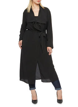 Plus Size Duster Cardigan with Optional Self-Tie Cinch - 3803062700999