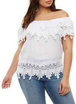 Plus Size Crochet Off the Shoulder Top - WHITE - 3803062705358