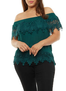 Plus Size Crochet Off the Shoulder Top - 3803062705358