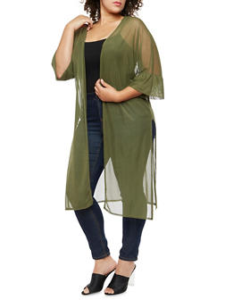 Plus Size Mesh Side Slits Kimono - OLIVE - 3803063400652