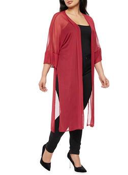 Plus Size Mesh Side Slits Kimono - 3803063400652