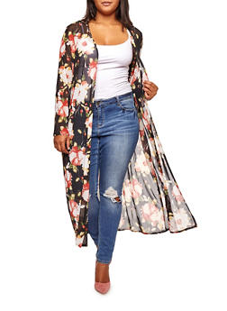 Plus Size Long Sleeve Floral Mesh Duster - BLK/IVORY   M38 - 3803063400661