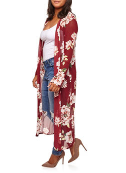 Plus Size Long Sleeve Floral Mesh Duster - 3803063400661