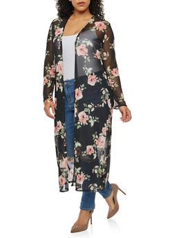 Plus Size Floral Mesh Duster - 3803063400669