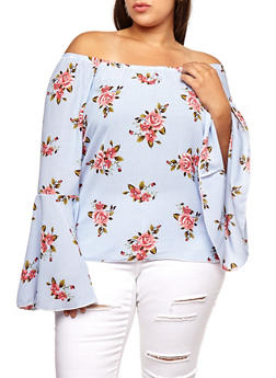 Plus Size Striped Floral Off the Shoulder Bell Sleeve Top - 3803063400681