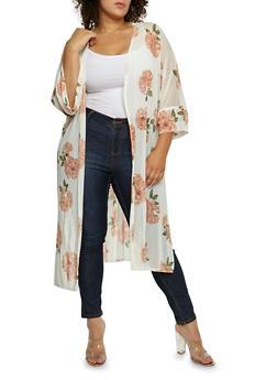Plus Size Floral Mesh Duster - 3803063401652