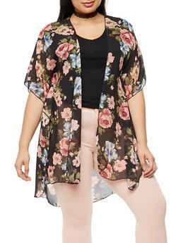 Plus Size Floral Chiffon Kimono - BLACK  11014 - 3803063402658