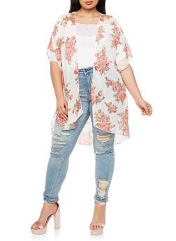 Plus Size Floral Chiffon Kimono - IVORY  FS 133 - 3803063402658