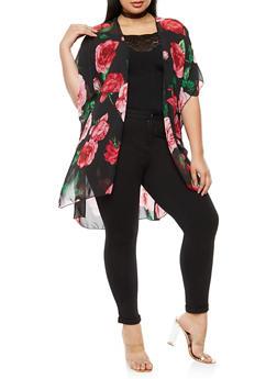Plus Size Floral Chiffon Kimono - BLACK/PINK FS SR 70267 - 3803063402658