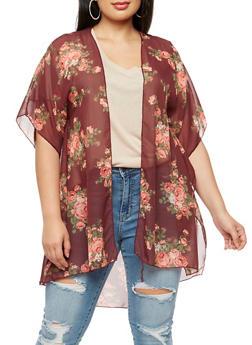 Plus Size Floral Chiffon Kimono - BURGUNDY FSSR 70267 - 3803063402658
