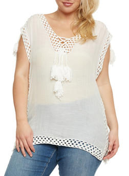 Plus Size Sleeveless Top with Tassels and Crochet Detail - 3803063405120