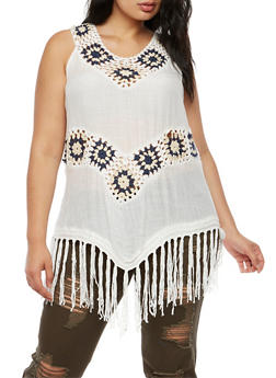Plus Size 2 Tone Crochet Fringe Sleeveless Top - 3803063405206