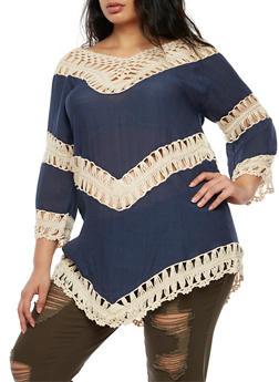 Plus Size 2 Tone Crochet Top - 3803063405207