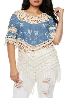 Plus Size Denim Crochet Top - 3803063405210