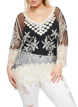 Plus Size Embroidered Mesh and Crochet Top - 3803063405366