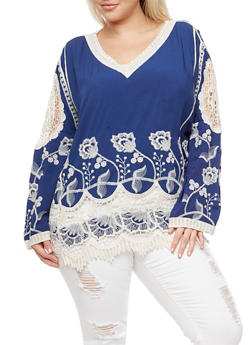 Plus Size Embroidered Crochet Trim Top - 3803063405431