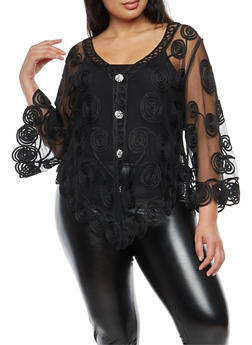Plus Size Mesh Stitched Ribbon Button Front Top - 3803063406475