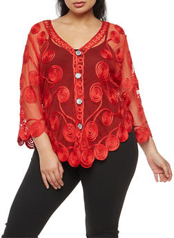 Plus Size Mesh Stitched Ribbon Button Front Top - 3803063406475