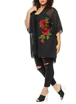 Plus Size Solid Rose Patch Kimono - BLACK - 3803063409217
