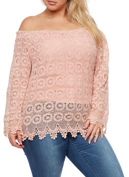 Plus Size Elastic Off the Shoulder Crochet Top - 3803064461056