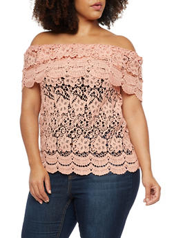 Plus Size Crocheted Off the Shoulder Top - 3803064463215