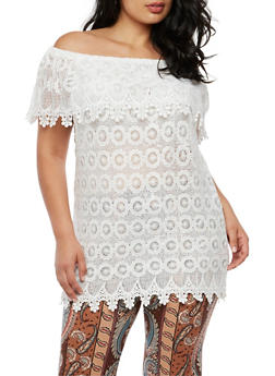Plus Size Crochet Off the Shoulder Top - WHITE - 3803064464325