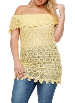 Plus Size Crochet Off the Shoulder Top - 3803064464325