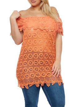 Plus Size Crochet Off the Shoulder Top - 3803064464325