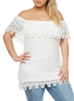 Plus Size Crochet Overlay Off the Shoulder Top - IVORY - 3803064464326