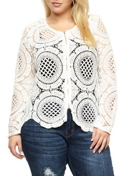 Plus Size Crochet Zip Front Jacket - WHITE - 3803064468936