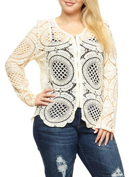 Plus Size Crochet Zip Front Jacket - 3803064468936
