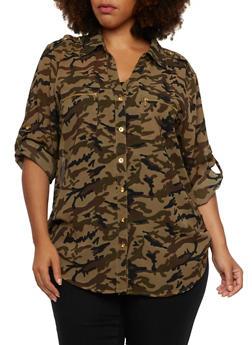 Plus Size Camo Button Up Top - 3803064515724