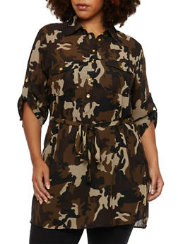 Plus Size Sheer Camo Button Front Tunic Top - 3803064518315