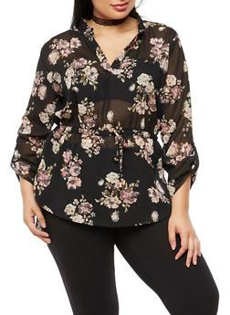Plus Size Floral Cinched Waist Blouse - 3803068700743