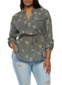 Plus Size Floral Print Cinched Top - 3803068700853