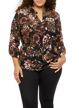 Plus Size Printed Cinched Waist Top with Tabbed Sleeves - 3803068700902